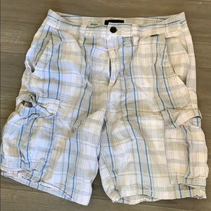 Hurley men's plaid cargo shorts size 33 buckle
